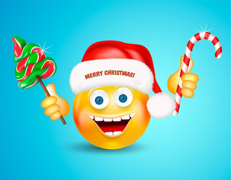 Happy smiling round face wearing a red santa claus hat holding christmas candies fir-tree and cane on bright blue background. Cart stock illustration