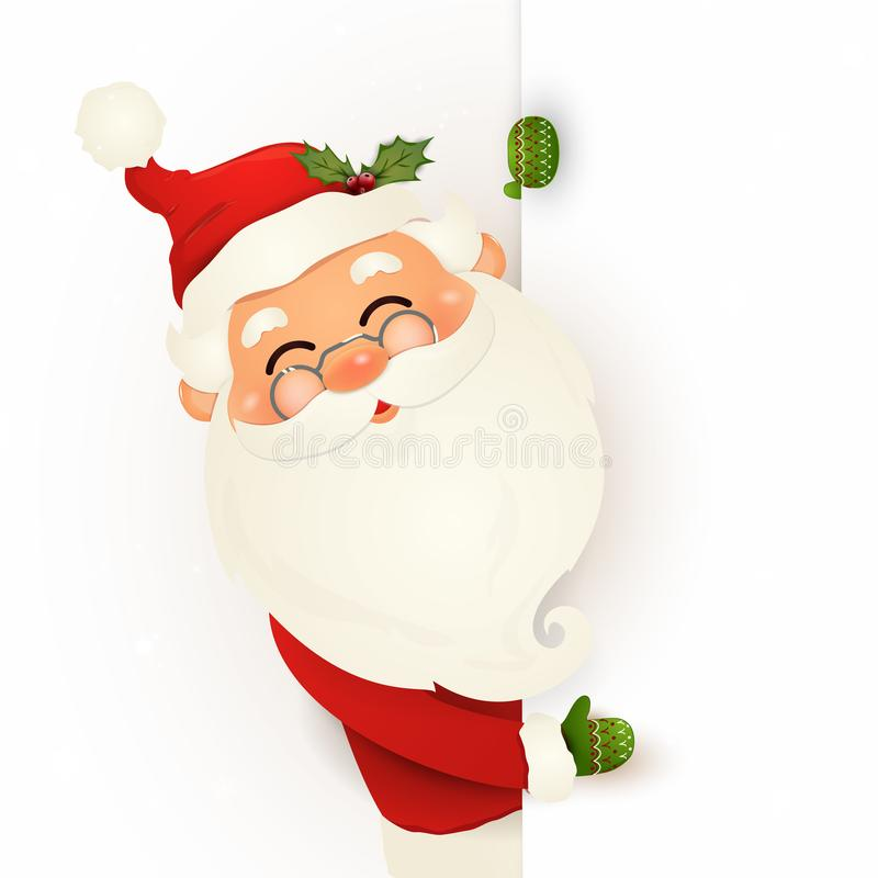 Happy smiling Santa Claus standing behind a blank sign, showing on big blank sign. Cartoon Santa Claus character with white copy s. Pace. Santa clause. vector vector illustration