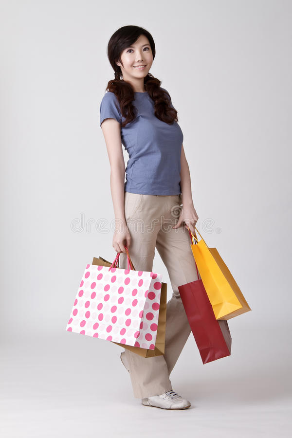 Happy Smiling Shopper Royalty Free Stock Images