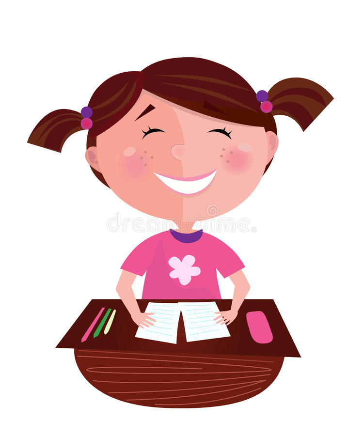 Happy smiling small girl learning in classroom vector illustration
