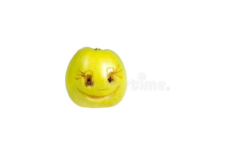 Happy smiling smiley out of the apple. Feelings, attitudes. And emotions royalty free stock image