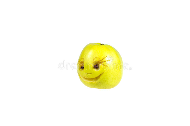 Happy smiling smiley out of the apple. Feelings, attitudes. And emotions royalty free stock photos