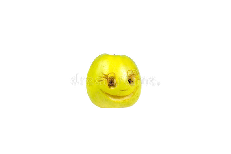 Happy smiling smiley out of the apple. Feelings, attitudes. And emotions stock images