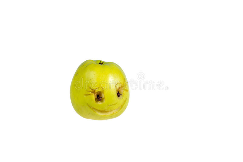 Happy smiling smiley out of the apple. Feelings, attitudes. And emotions royalty free stock images