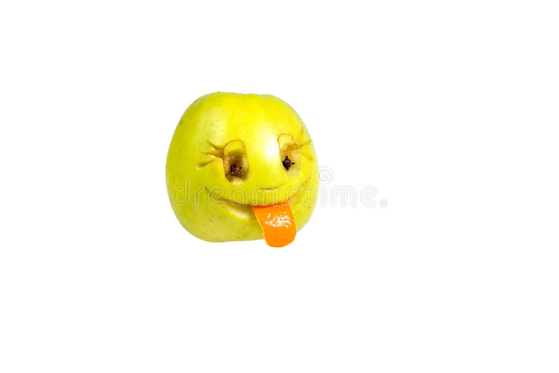 Happy smiling smiley out of the apple. Feelings, attitudes. And emotions stock photography
