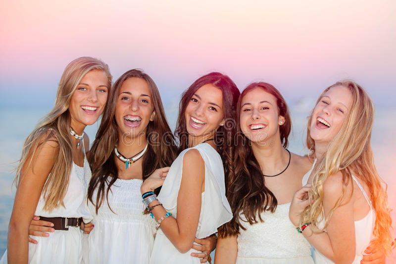 Happy smiling summer teens royalty free stock photo