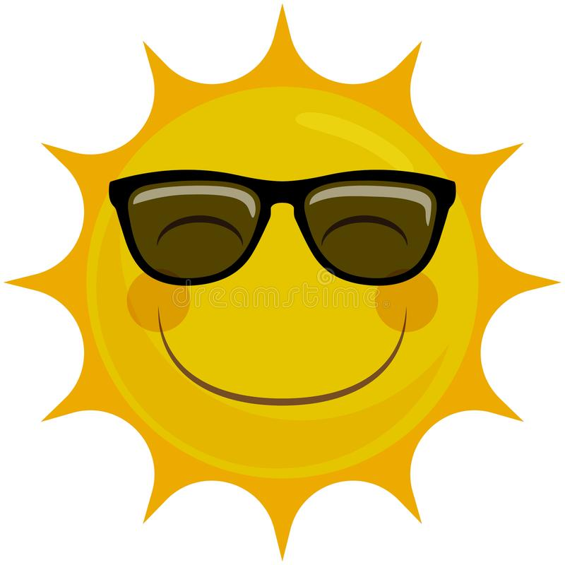 Happy Smiling Sun Character with Sunglasses stock illustration