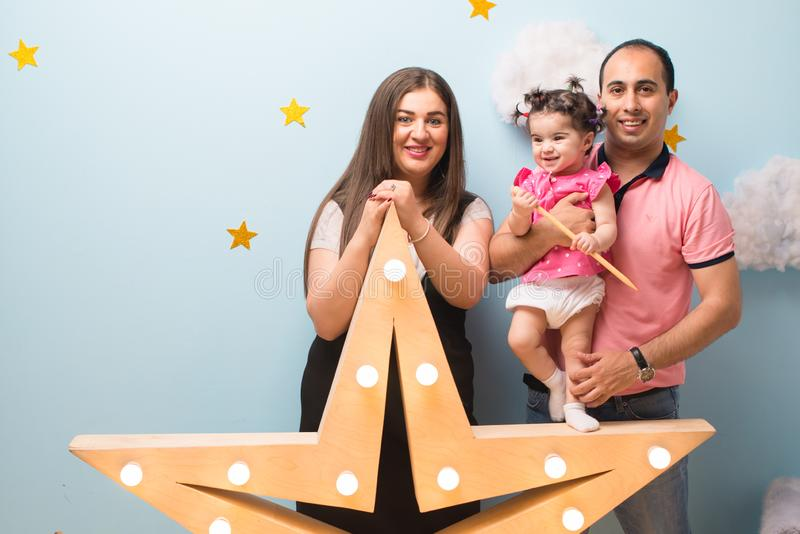 Happy family portrait, Moher father and daugher stock image