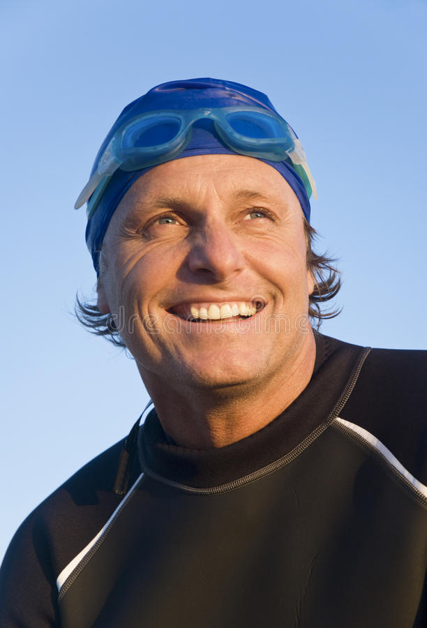 Download Happy smiling swimmer. stock image. Image of active, macho - 10690177