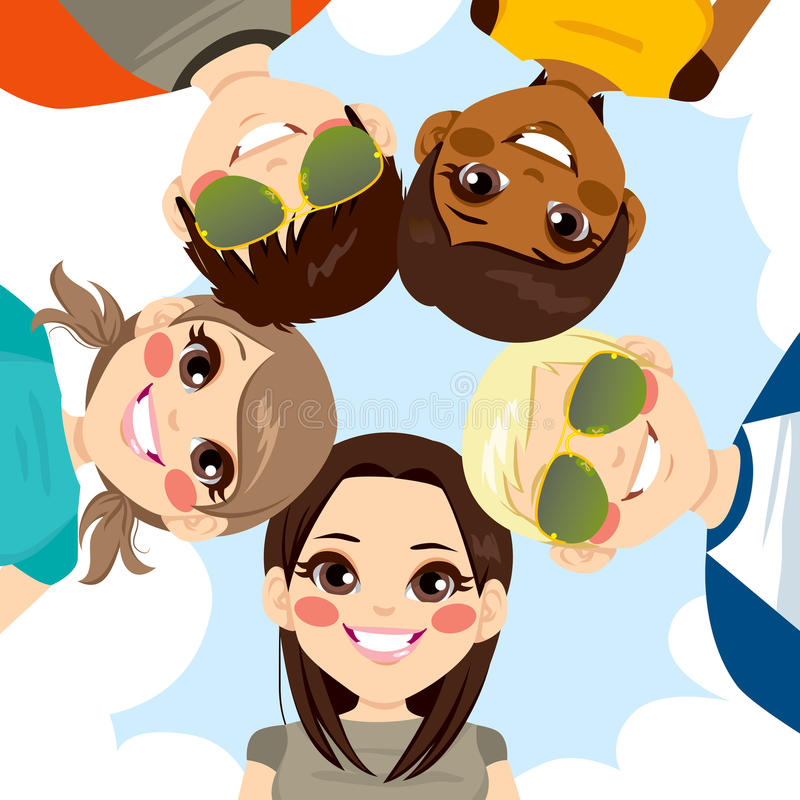Happy Smiling Teenagers Circle stock illustration