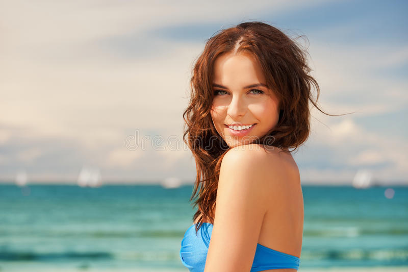 Download Happy Smiling Woman On The Beach Stock Photo - Image of beautiful, female: 39515486
