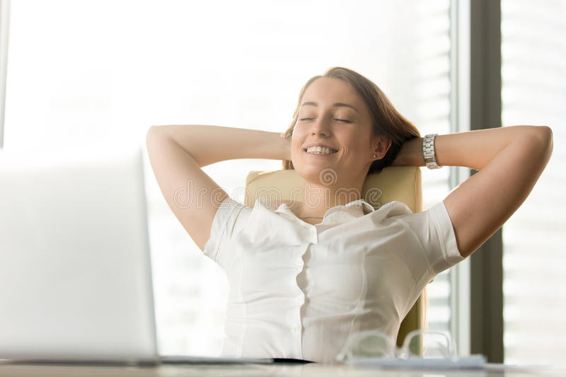 Happy smiling woman feels relaxed in office home, portrait heads. Happy smiling woman feels relaxed in office home, enjoying moment, no stress at work stock images
