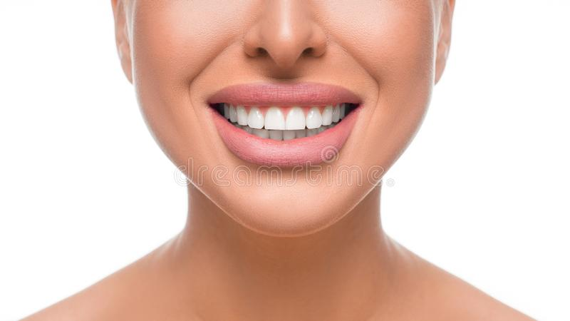Happy smiling woman with perfect teeth. Close up view. Dental health concept. royalty free stock image