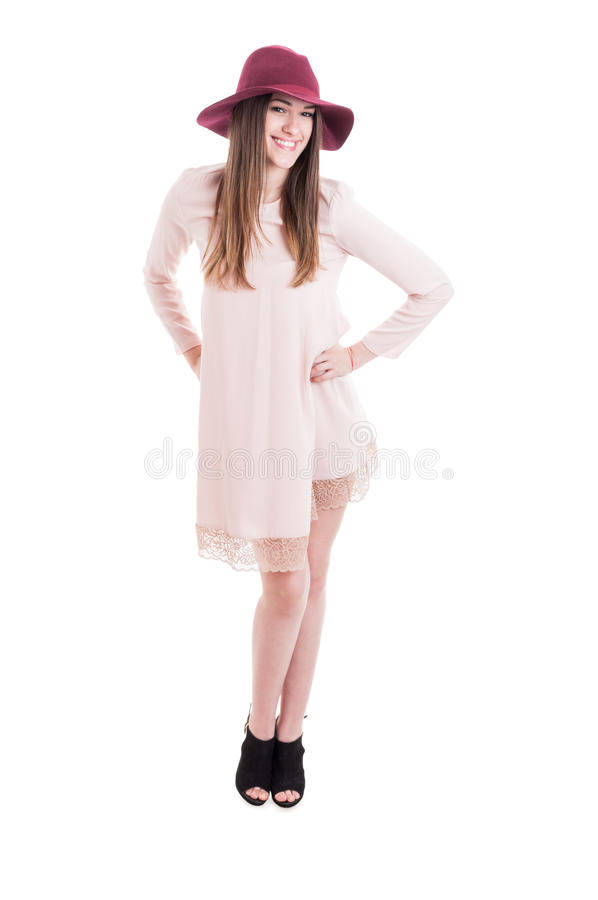 Happy smiling woman posing in trendy summer outfit stock photo