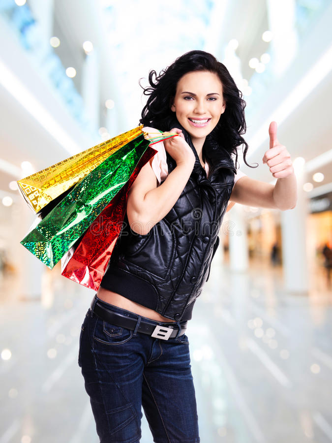 Happy Smiling Woman With Shopping Bags. Stock Image