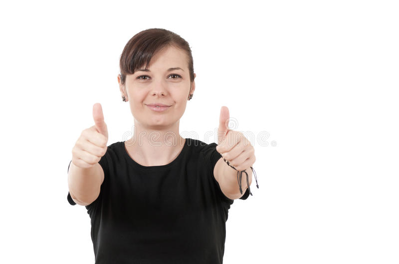 Happy Smiling Woman With Thumbs Up Gesture Stock Images