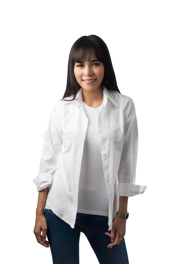 Happy Smiling Woman in white shirt royalty free stock image