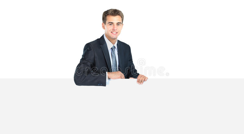 Happy smiling young business man royalty free stock photography
