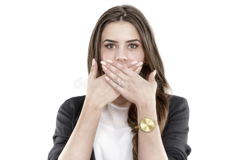 Happy smiling young business woman covering with han royalty free stock photography