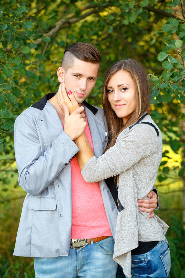 Happy smiling young couple outdoor. valentine concept royalty free stock photo
