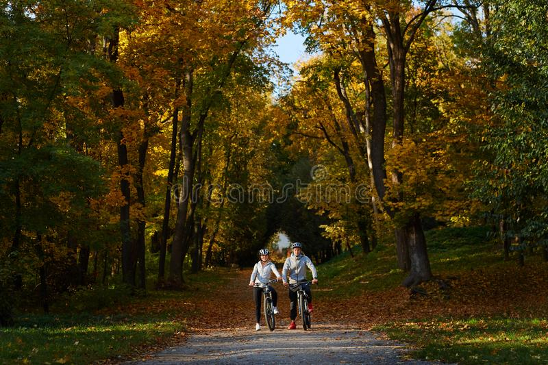Happy young couple going for a bike ride on an autumn day in the park. royalty free stock photo