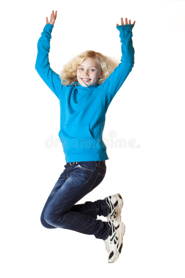 Download Happy Smiling Young Girl Jumps In The Air Stock Image - Image: 18130627