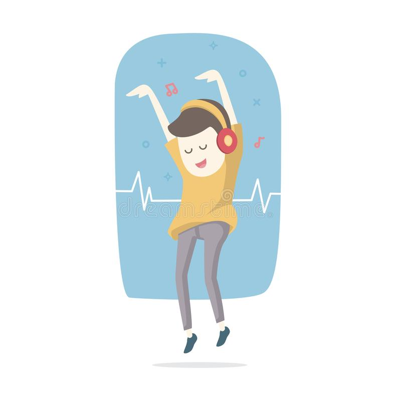 Happy smiling young man listens to music with headphones and dan stock illustration