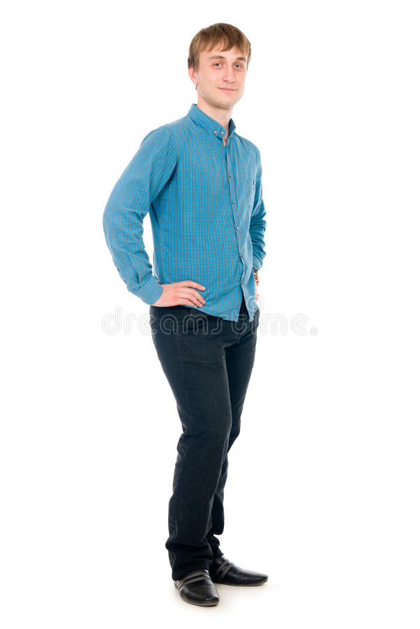 Happy smiling young man standing full length royalty free stock image