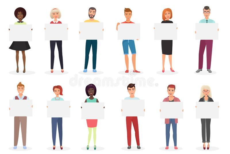 Happy smiling young men and women people holding clean empty placards, cards, posters, boards vector illustration. vector illustration