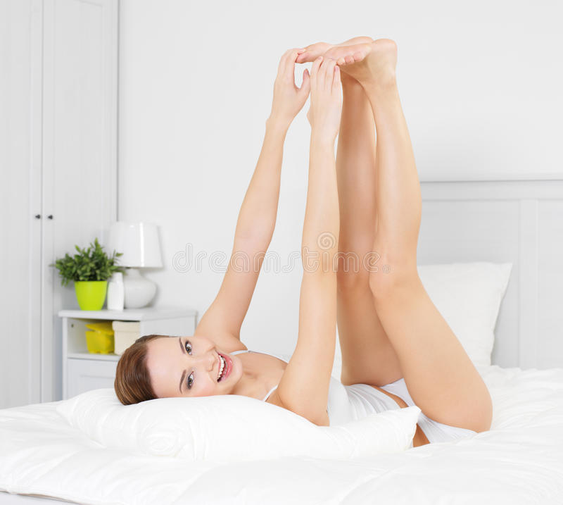 Download Happy Smiling Young Woman With Beautiful Legs Stock Image - Image of body, attractive: 21172557