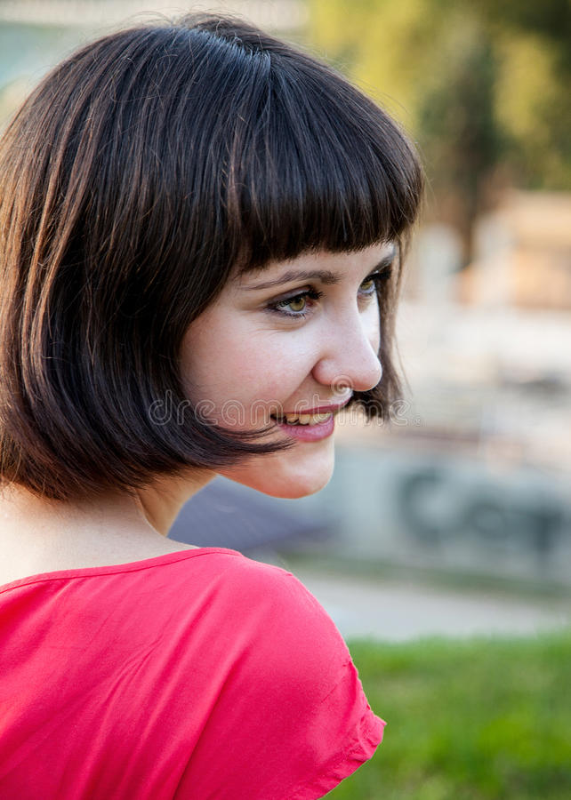 Happy smiling young woman royalty free stock image