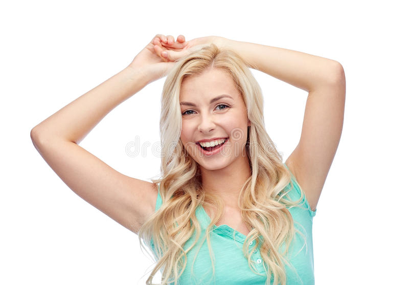 Happy smiling young woman or teenage girl royalty free stock image