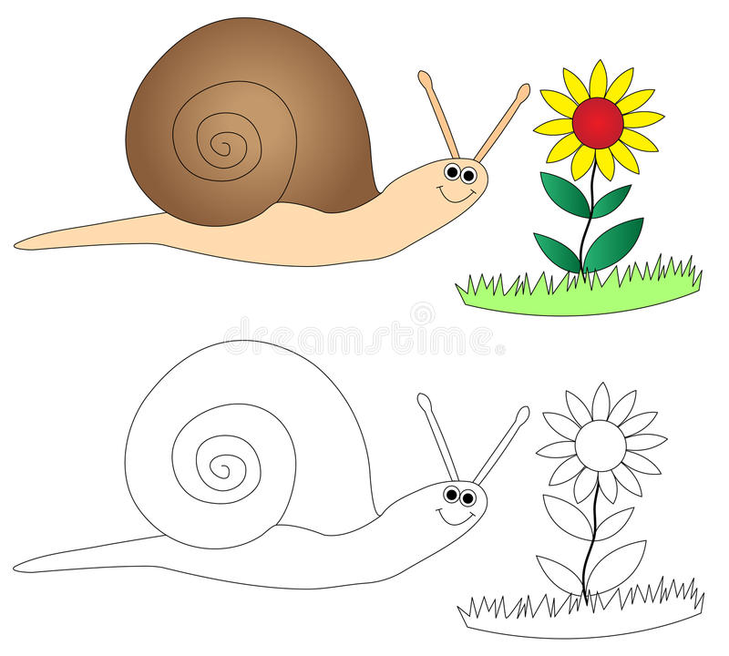 Happy snail & flower stock illustration