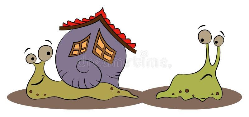 Happy snail with a house and the slug. Vector illustration of a happy snail with a house and the slug royalty free illustration