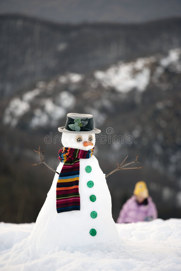 Free Happy Snow Man Royalty Free Stock Image - 9022116
