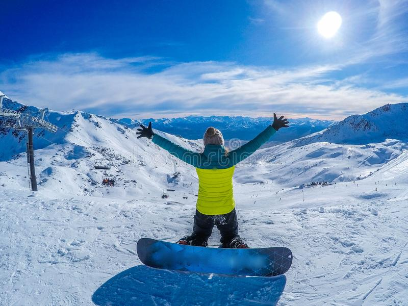 Happy snowboarding girl, Remarkables, New Zealand royalty free stock photos