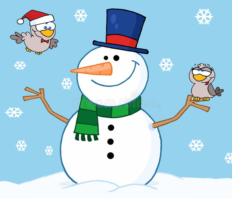 Happy snowman with birds vector illustration