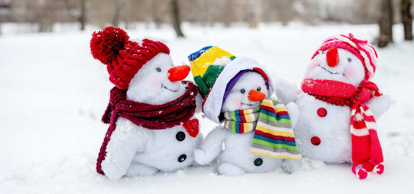 Happy snowman family stock images