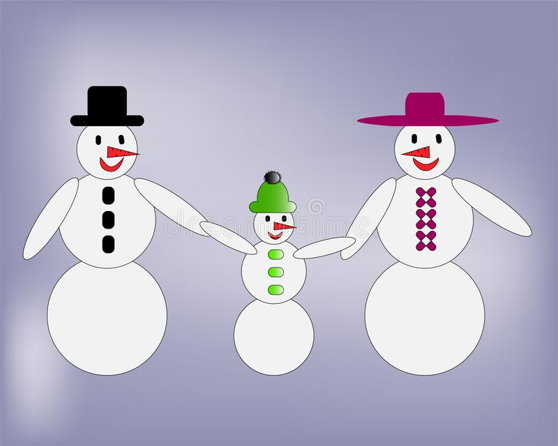 Happy snowman family walking hand in hand vector illustration