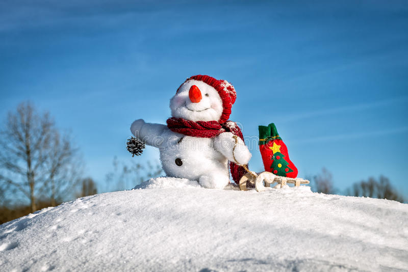 Happy snowman with hat stock images