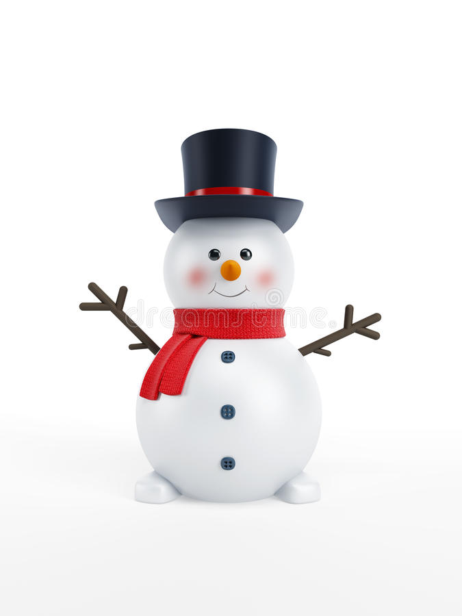 Happy snowman. Isolated 3d rendering royalty free illustration