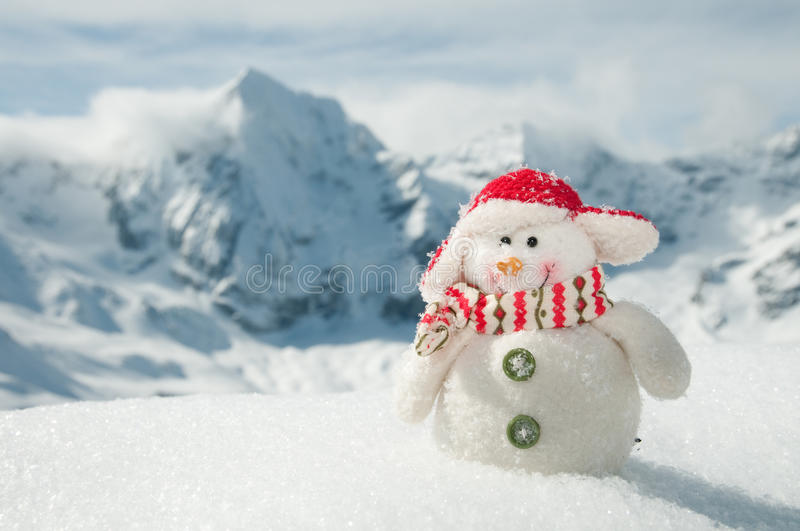 Download Happy snowman in mountains stock image. Image of january - 16236163
