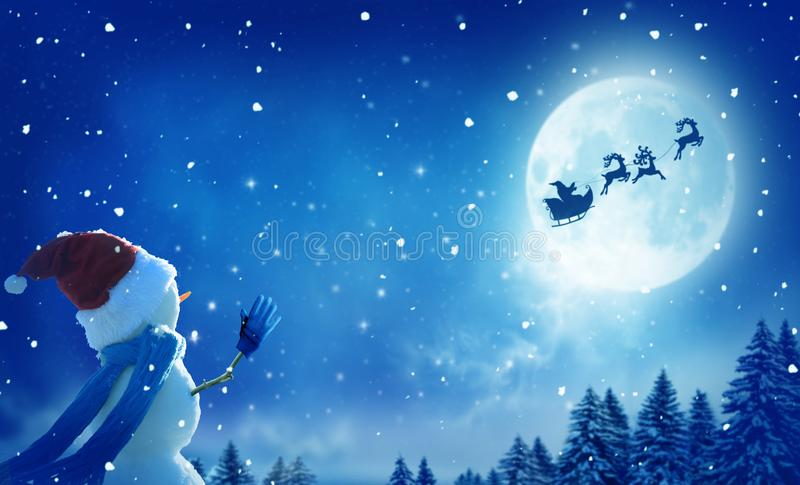 Happy snowman standing in winter christmas landscape royalty free illustration