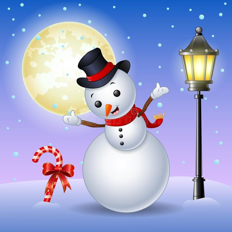 Free Happy Snowman With Candy Cane And Lamppost Royalty Free Stock Images - 81631669