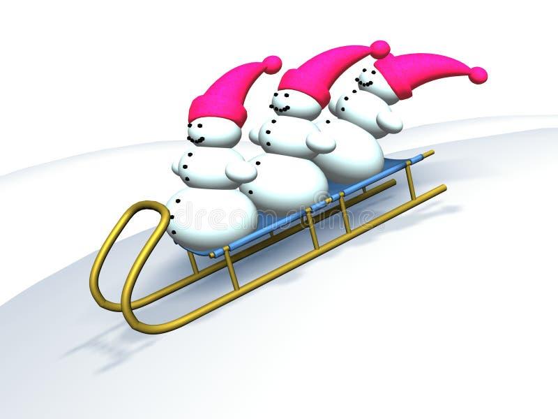Happy snowmans vector illustration