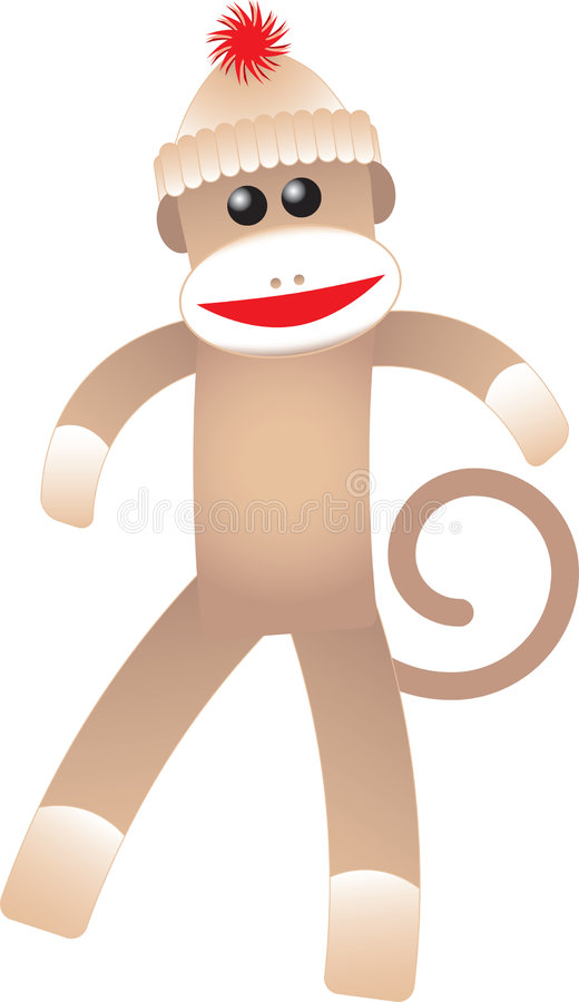 Happy Sock Monkey. A cute illustrated sock monkey wearing a hat with a red detail on it royalty free illustration