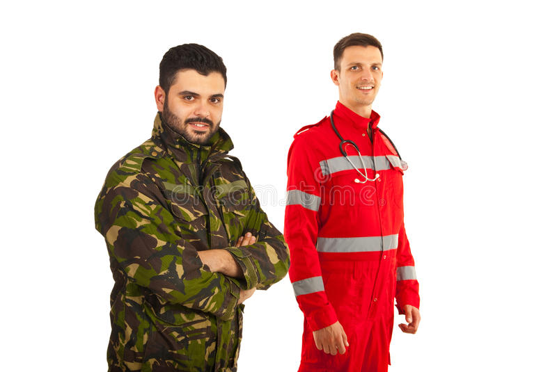 Happy soldier and paramedic. Men with arms folded isolated on white background stock images