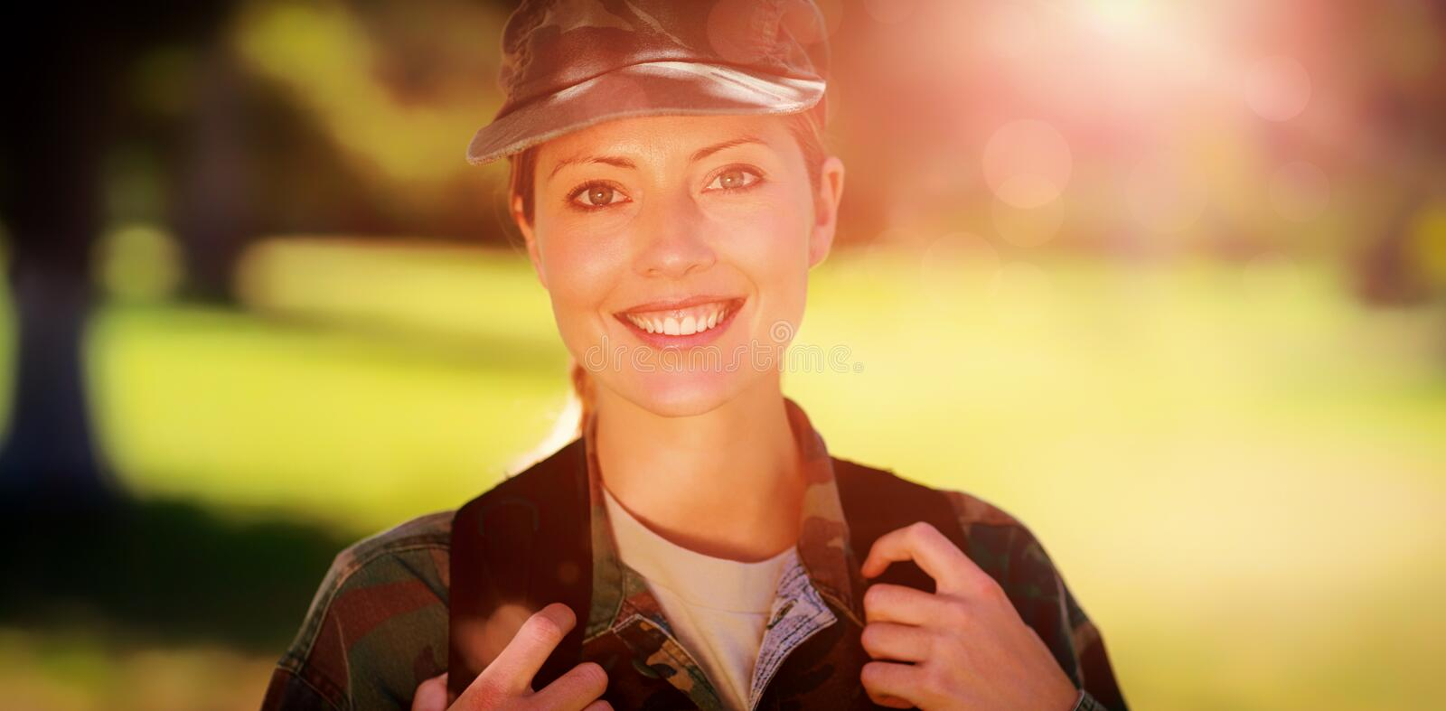 Happy soldier in the park royalty free stock photography