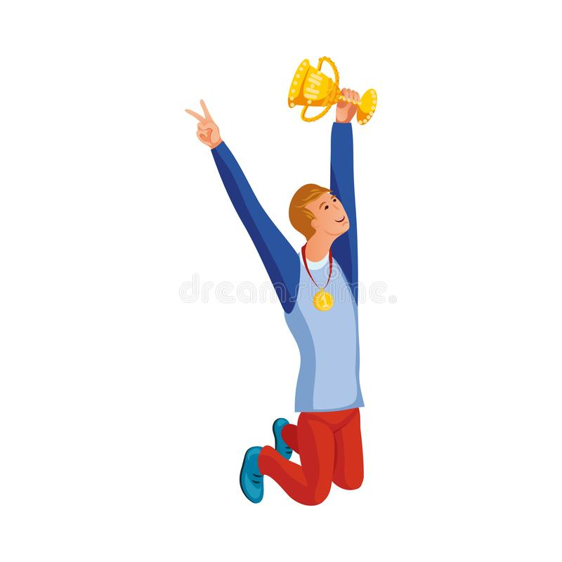 Free Happy Sportsman Holding Golden Victory Cup Vector Illustration Royalty Free Stock Image - 164480376