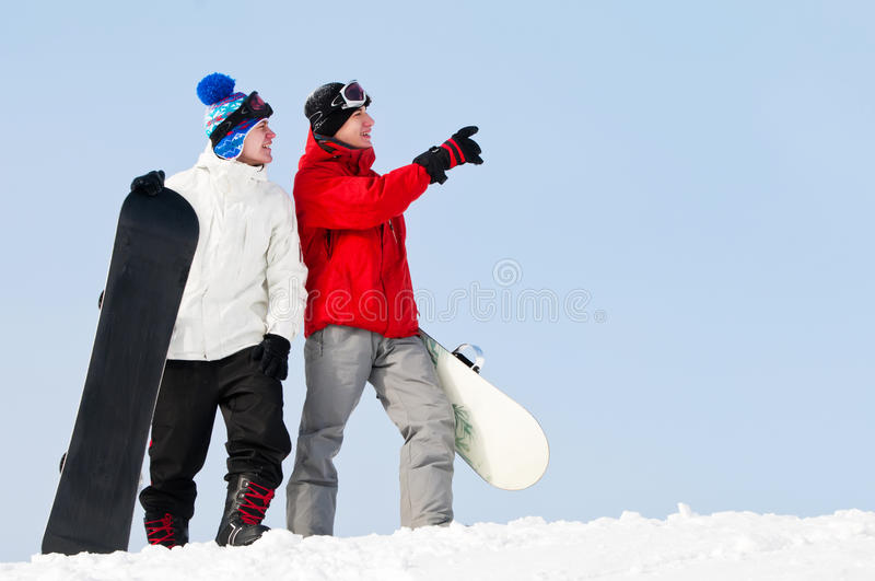 Download Happy Sportsman With Snowboards Stock Image - Image of recreation, goggles: 18178101